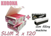 Empty Cigarette 2 BOX KORONA PINK SLIM 2x120 +1 slim filling machine