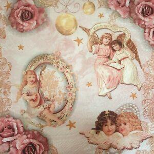 4 Lunch Paper Napkins Serviettes Decoupage Napkins Romantic Angels Rose New