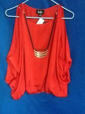 NWT'S BY&BY RED SHIRT WITH ATTACHED NECKLACE SIZE MEDUIM