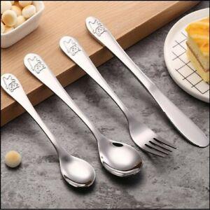 4pc Kids Cutlery Set Stainless Steel Spoon Fork Knife Children