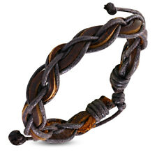 Zense - Bracelet homme en cuir tressé et torsadé avec cordes noires ZB0030