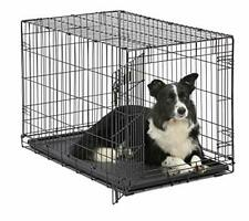 "Dog Crate | MidWest ICrate 36"" Folding Metal Dog Crate w/ Divider Panel, Black"