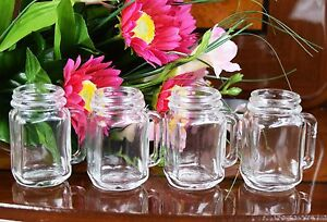 Set of 4 Manson Jar Shot Glasses  Drink Ware Party Shooter 35ml Clear Glass
