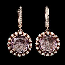 Ohrringe Amethyst & CZ 925 Silber 585 rosévergoldet