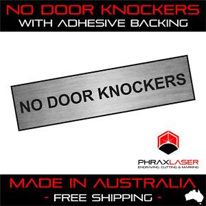 NO DOOR KNOCKERS - SILVER SIGN - LABEL - PLAQUE w/ Adhesive 80mm x 20mm