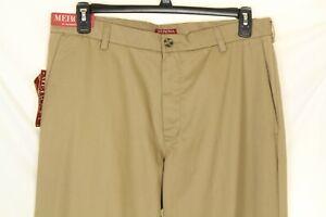 Merona Ultimate Khaki Men's Flat Front Pants Resist Spill Size 36 X 30