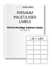 400 Sheets 7200 Labels 1.25 x 2.375 18 UP Fast Peel White File ID Labels