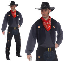 Para Hombre Negro Vaquero Chaleco & Chaps Set Fancy Dress Costume Western Traje de Adulto