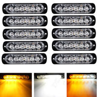 10X White/Amber 6 LED Emergency Beacon Warning Hazard Flashing Strobe Light