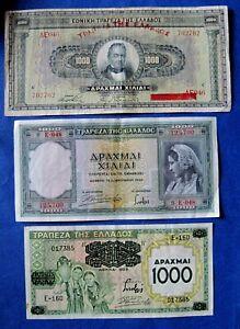 1926, 1939   GREECE GREEK BANKNOTE  3 x 1000  DRACHMA   Different Set