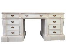 Antik Chef Schreibtisch Mahagoni Doppelschreibtisch Massivholz Kolonial Weiss