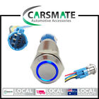 New Switch Push Button MOMENTARY ON 12v 19mm BLUE LED Stainless Steel WITH PLUG