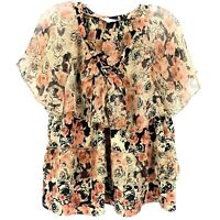 Lucky Brand Womens Large Black Pink Floral Ruffle Tiered Blouse Top Shirt NWOT