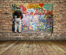 Mr Brainwash Life is Beautiful Grafitti -Street Art Pop Art Canvas Print 24 x 18