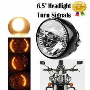 """Universal 6.5"""" Motorcycle Headlight Lamp LED Turn Signals for Harley Bobber Dyna"""