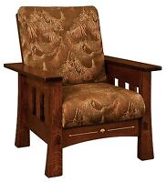 Amish Mission Arts & Crafts Mesa Accent Chair Upholstered Solid Wood Back