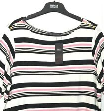 M&S Marks s20 Black Mix Striped Gold Buttons 1/2 Sleeve Stretch Top Tshirt BNWT