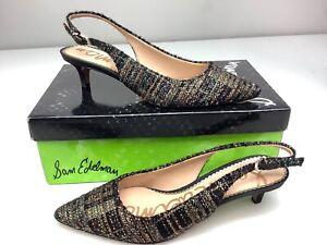 Sam Edelman Size 7 Ludlow Black Gold Plaid Boucle Heels Slingback Shoe