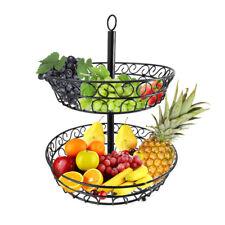 2 Tier Holder Storage Organizer Kitchen Fruit Basket Rack Stand Wire Black