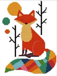 Colourful Fox. 14CT counted cross stitch kit. Craft brand new