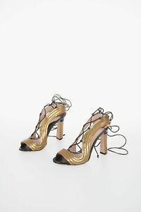 PAULA CADEMARTORI women High Size 38,5 IT Gold Leather Laced Sandals Open Toe...