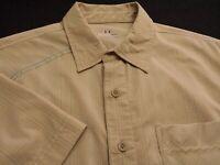 Under Armour Mens Medium Short Sleeve Button-Front Beige Plaid Check Shirt