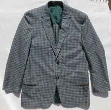 Vintage Playlord Blue Brown Check Hipster Blazer Jacket Men's size 36 Xs Short