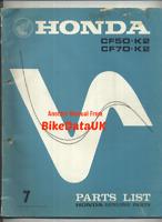 Honda CF70 Chaly (73-80) Official Parts List Catalogue Manual Book CF 70 50 CK71