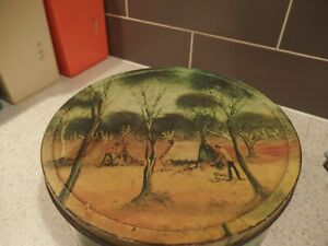 ARNOTTS BISCUIT TIN~~PRO HART 1975~ THE TRAPPER'S CAMP