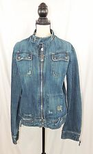 Diesel Women's Distressed Denim Moto Biker Jean Jacket Sz XL #1341