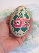 Vintage Czech Easter Goose Egg Kraslice Czechoslovakian Lily Tea Rose Hm1