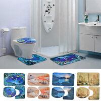 3Pcs Printed Bath Mat Set Non Slip Pedestal Mat Toilet Bathroom Rug