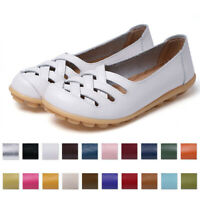 Womens Ladies Soft Leather Work Casual Ballet Slip On Loafer Flat Shoes Size 9.5