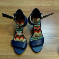 American Eagle Blue Faux Leather Ankle Strap Wedge Heels Sandals Size 5.5 W EU36