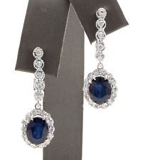 6.70Ct Natural Sapphire and Diamond 14K Solid White Gold Earrings