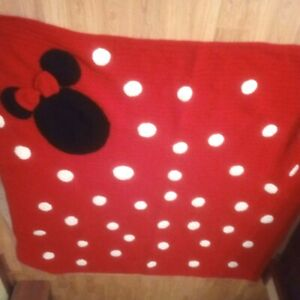 Hand Made Red and White Polka Dot w 3D Detail Minnie Mouse Afghan