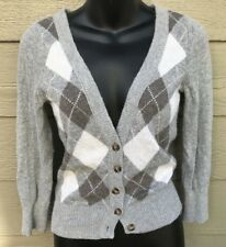 Abercrombie Fitch Juniors Women Cardigan Sweater L Large Gray Argyle Long Sleeve