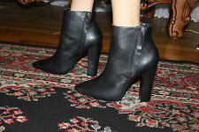 STEVE MADDEN JANICEE BLACK LEATHER ANKLE BOOT SIZE 9.5