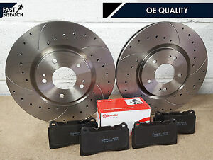 FOR MITSUBISHI LANCER EVO 6 7 8 9 FRONT DRILLED GROOVED DISCS BREMBO BRAKE PADS