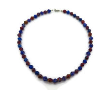 Vintage Women's Blue Red Diamond Shape Indian Glass Bead Necklace