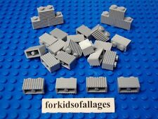 25 Lego 1x2 Bricks Grill Profile Light Stone Gray Castle Wall Car Grille Parts