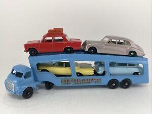 1960s matchbox #2 BEDFORD CAR TRANSPORTER BLUE w 4 cars ford phantom pontiac ++