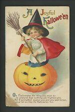 Halloween postcard International Art 1667-5 Artist Clapsaddle JOl witch Vintage