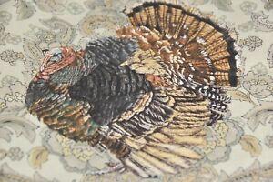 NEW Williams Sonoma 4 PC SET Turkey Napkins Thanksgiving Beige Brown