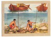 Native Pearl  Divers Use Stones To Maintain Depth  Vintage Trade Ad Card