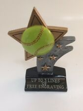 Small Softball Star Trophy! Free Engraving! Ships In 1 Business Day!