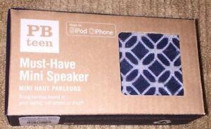 Pottery Barn Teen Must Have Mini Speakers NWT Navy Geo Diamond Music