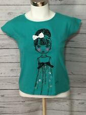 Girl's DKNY Shirt With Little Girl With Bow In Her Hair Size Large (L9)