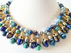Vintage Unsigned ? Hobe or Miriam Haskell Moonglow Lucite Bead Egyptian Necklace