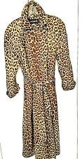 Vintage Raincoat Leopard Print Fabric by Cover Up M Lined Belt Shoulder Pads Usa
